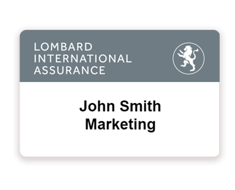 Event badge for Lombard insurance company printed with Badgy