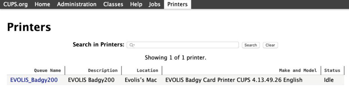 Badgy web cups interface terminal printers