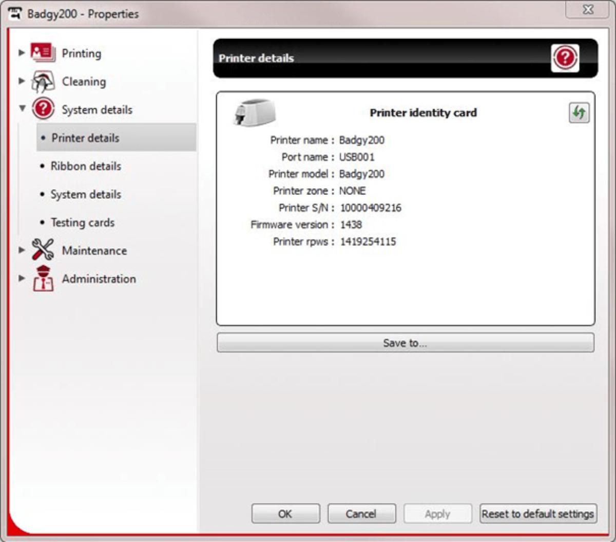 Identification du firmware Badgy via le centre d'impression