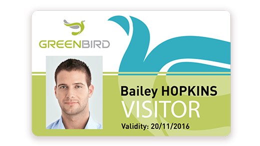 Visitor badge printed with Badgy